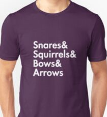 Snares& squirrels& bows& arrows....(WHITE FONT SHIRT) Unisex T-Shirt