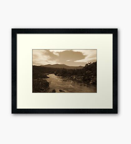 Snowy River NSW - Sepia Toned HDR Framed Print