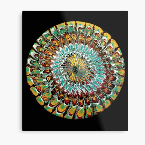 Multicolour psychedelic paint pour Metal Print