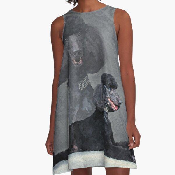 Elegant Black Standard Poodle Composition A-Line Dress