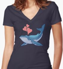 Whale Love! Women's Fitted V-Neck T-Shirt