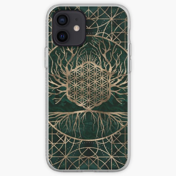 Flower of Life in Tree of life Malachine and Gold iPhone Soft Case