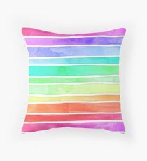 Ever So Bright Rainbow Stripes Throw Pillow