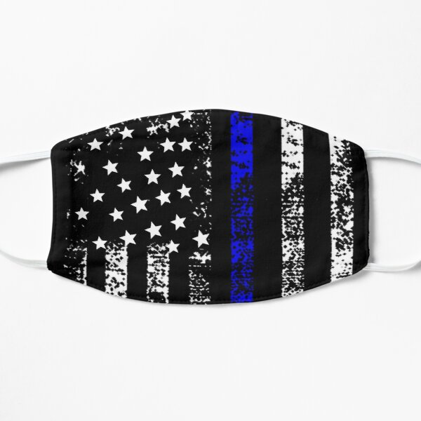 Thin Blue Line US Flag Face Mask DISTRESSED Police Gift Cop USA Mask