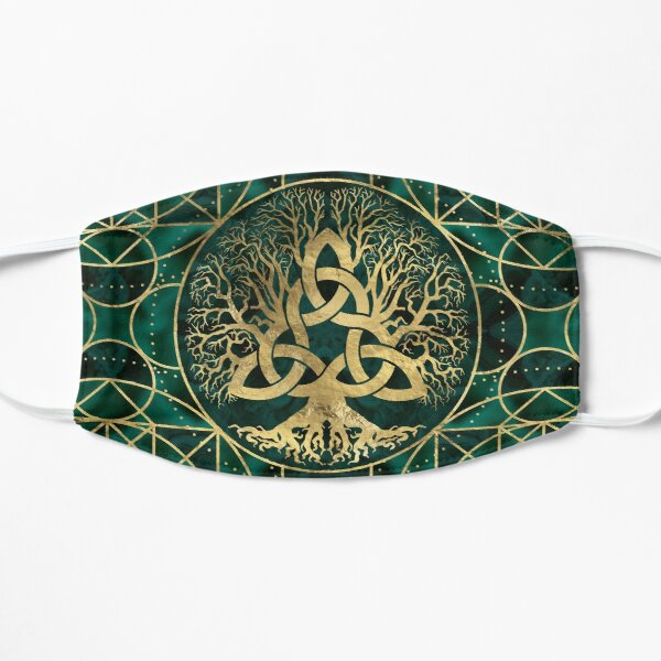 Tree of life with Triquetra Malachite and Gold Flat Mask