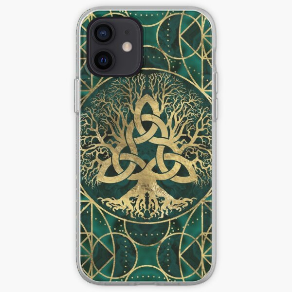 Tree of life with Triquetra Malachite and Gold iPhone Soft Case