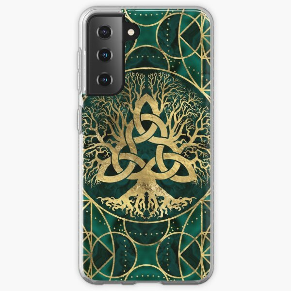 Tree of life with Triquetra Malachite and Gold Samsung Galaxy Soft Case