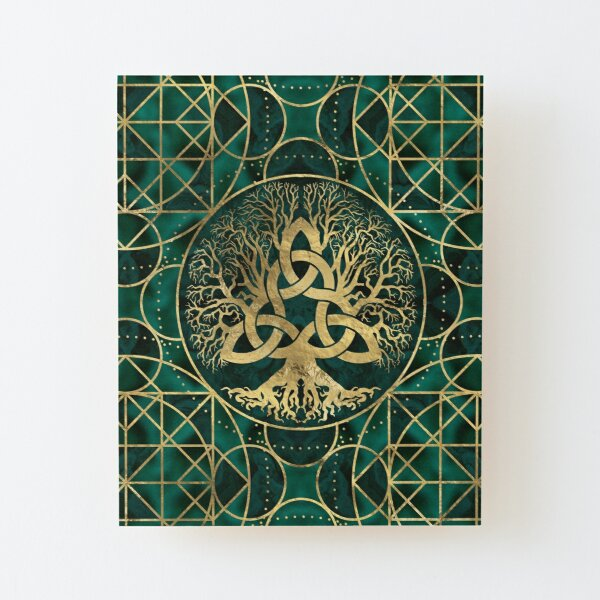 Tree of life with Triquetra Malachite and Gold Wood Mounted Print