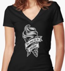 Too Cool... black and white Women's Fitted V-Neck T-Shirt