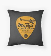 McFly's Repairs - Orange Throw Pillow
