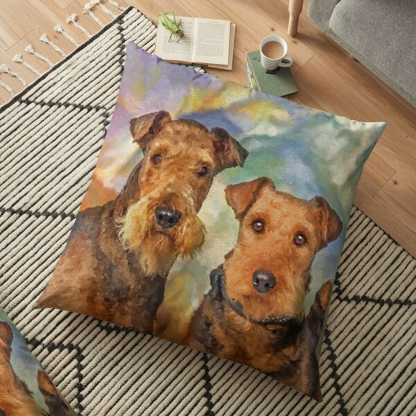 Airedale Terriers Portrait Mixed Media  Floor Pillow