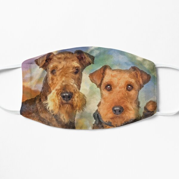Airedale Terriers Portrait Mixed Media  Mask