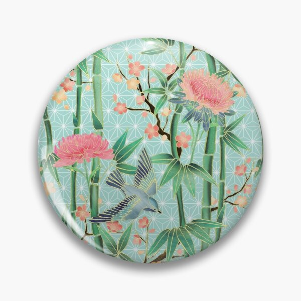 Bamboo, Birds and Blossom - soft blue green Pin