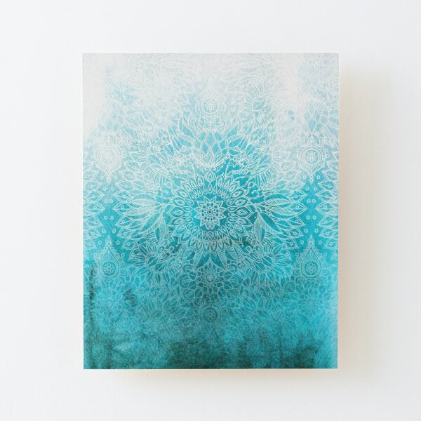 Fade to Teal - watercolor + doodle Wood Mounted Print