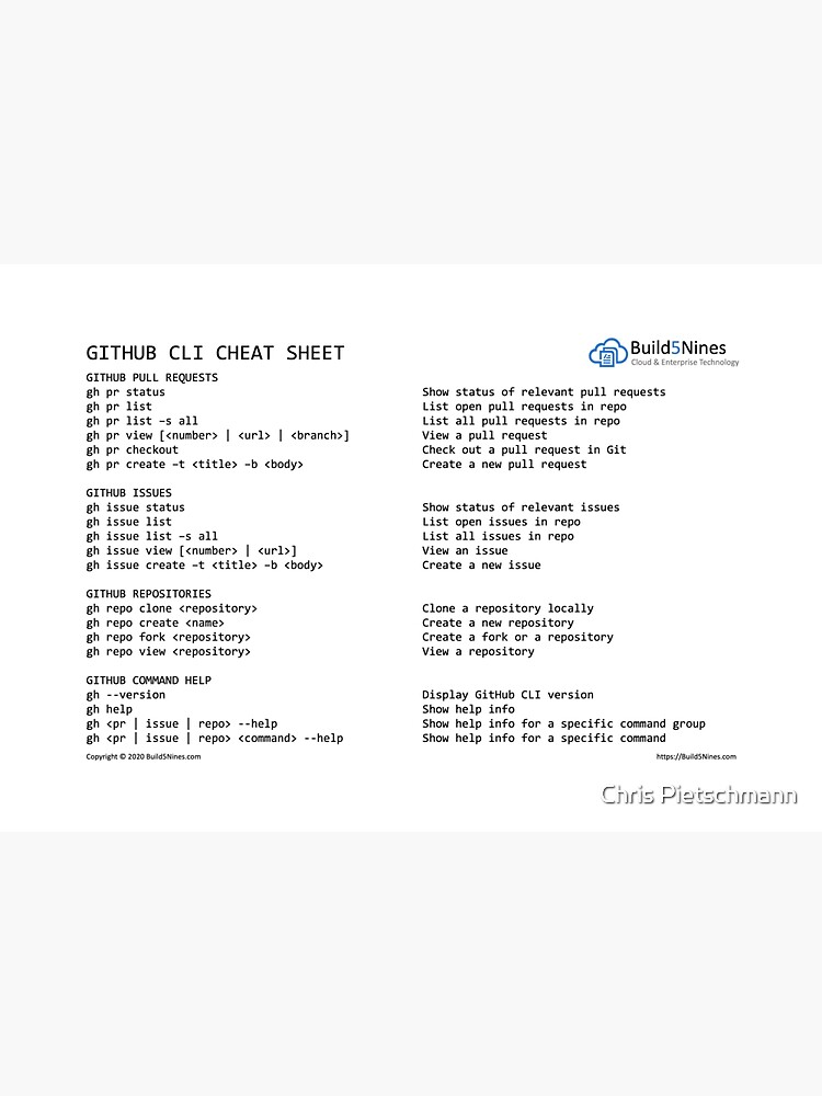 GitHub CLI Cheat Sheet from Build5Nines.com by BuildAzure