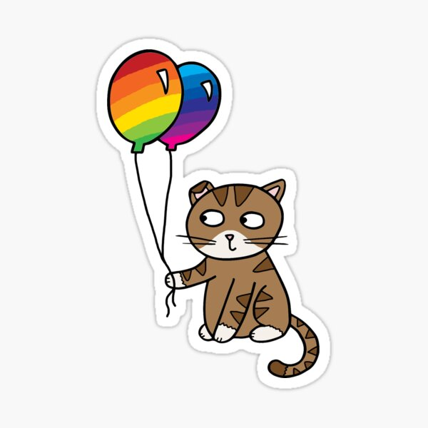Cat holding rainbow balloons Sticker