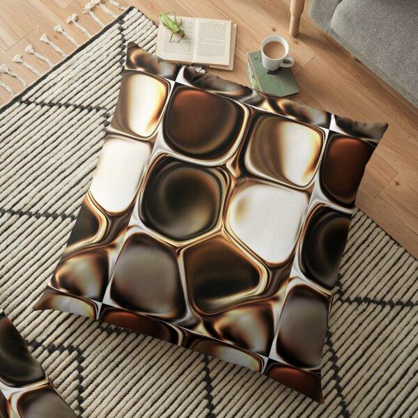 Stylish Chocolate Cream Brown Asymmetric Abstract Floor Pillow