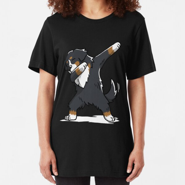 Funny Dabbing Bernese Mountain Dog Slim Fit T-Shirt