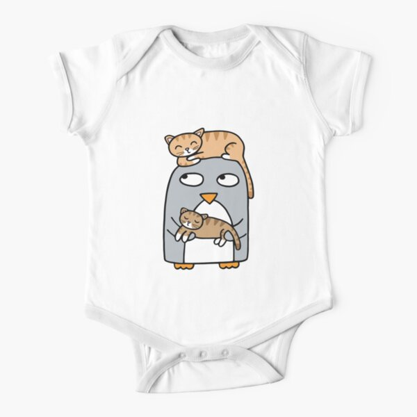 Crazy cat penguin Short Sleeve Baby One-Piece