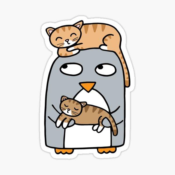 Crazy cat penguin Sticker
