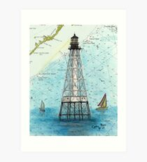 Alligator Reef Lighthouse FL Nautical Chart Peek Art Print
