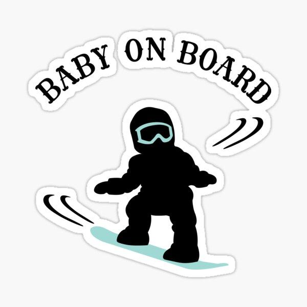 Snowboarding Boy Baby On Board - Dark Sticker