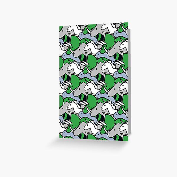 Horned Warrior Friends pattern (unicorn, narwhal, triceratops, rhino) Greeting Card