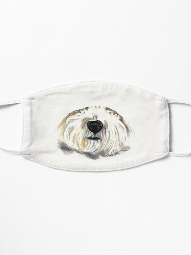 Alternate view of Bichon Frise dogs Fun Summer Turquoise Mask