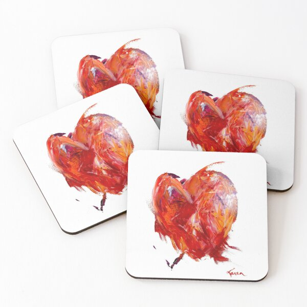 Brokenhearted - An Expressionist Vibrant Red Heart Coasters (Set of 4)