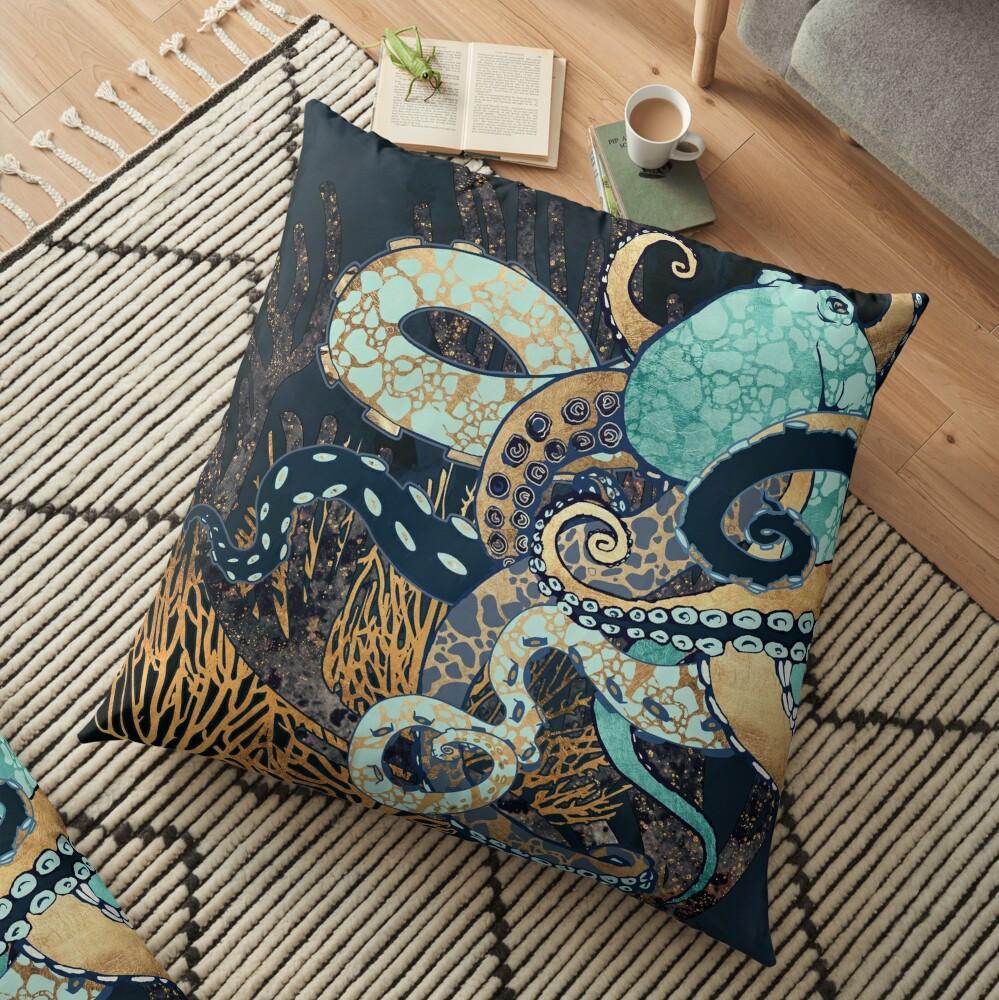 Metallic Octopus II Floor Pillow