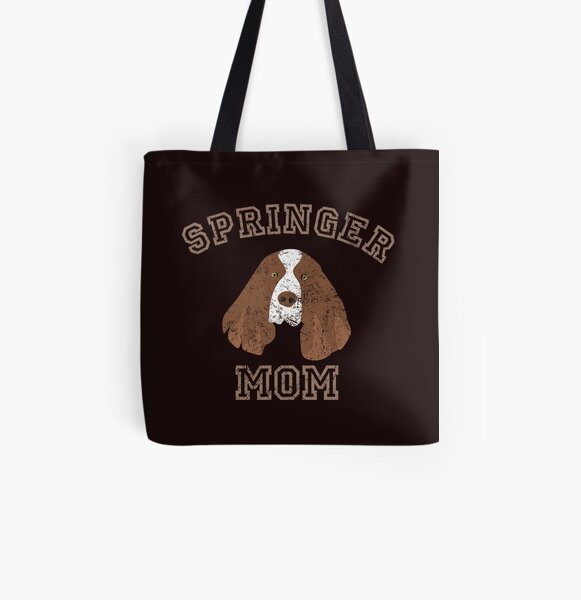Personalized Embroidered Tote Bag Cotton Canvas Shopping Bag Dog Mom Large Tote Bag with Pocket Springer Spaniel Mom Tote Bag