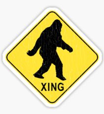 Bigfoot Crossing Sign (vintage look) Sticker