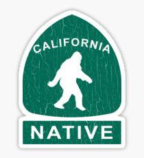 California Native Bigfoot Sign (vintage look) Sticker