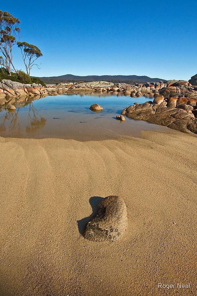 Beach and rocks at Binalong Bay by Roger Neal