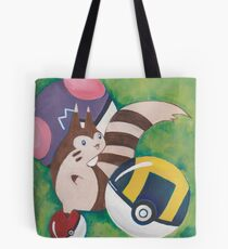 Pokemon Painting - Furret Tote Bag