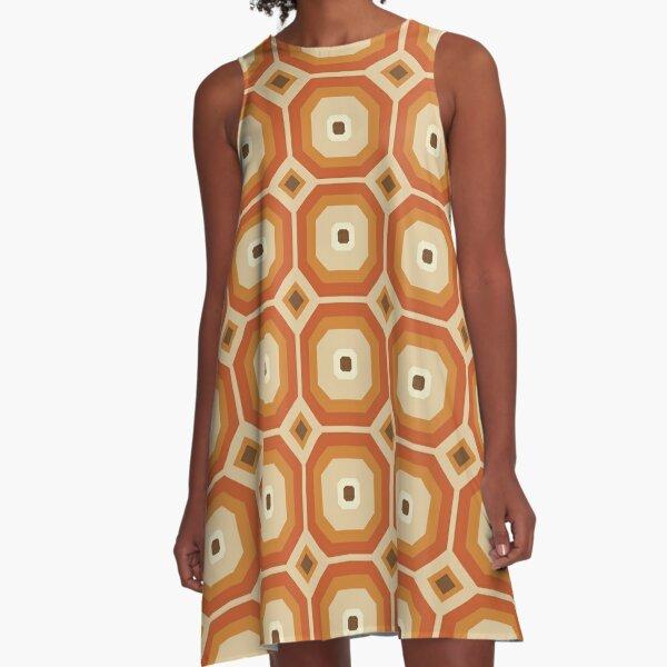 Brown, Orange and Ivory Geometric Retro Octagon Pattern A-Line Dress