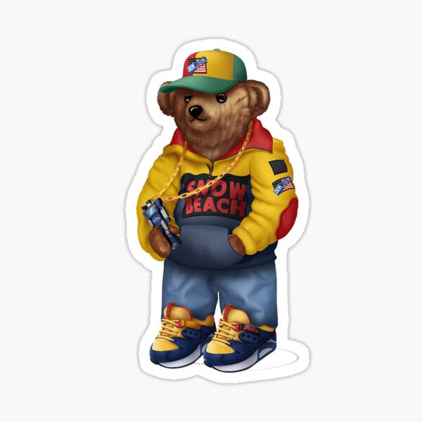 Snow Beach Bear Sticker