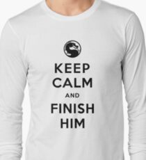 Keep Calm and Finish Him (clean version light colors) Long Sleeve T-Shirt