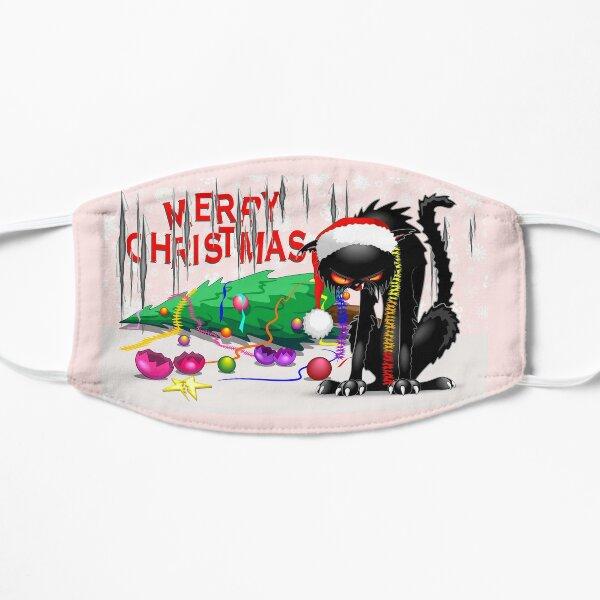 Evil Black Cat VS Christmas Tree  Small Mask