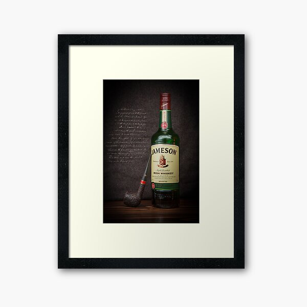 Green Irish Whiskey Bottle Wall Art Print