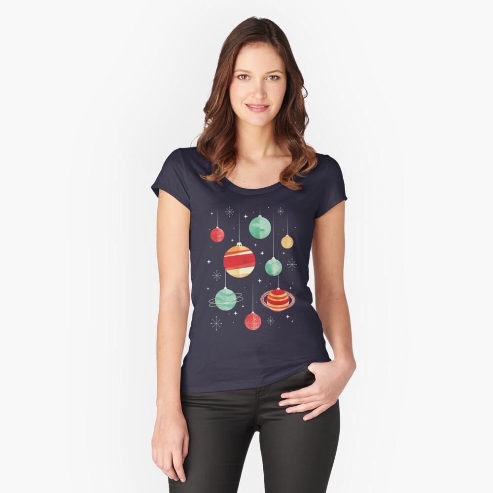 Freude für das Universum Tailliertes Rundhals-Shirt für Frauen Vorne