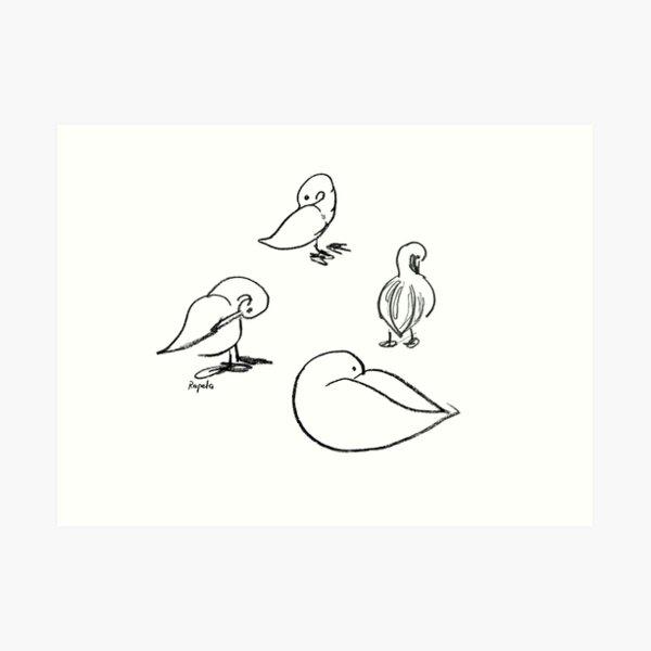 Four ducks Art Print