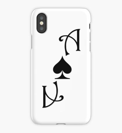 Ace of Spades card smaller - Black iPhone Case/Skin