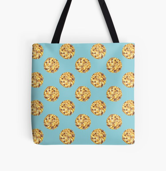 Chocolate Chip Cookie Pattern Watercolor All Over Print Tote Bag