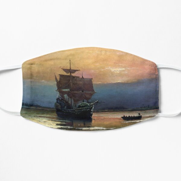 The Voyage of the Mayflower. Celebrating 400 Years, 1620-2020. Historical Anniversary. Mask