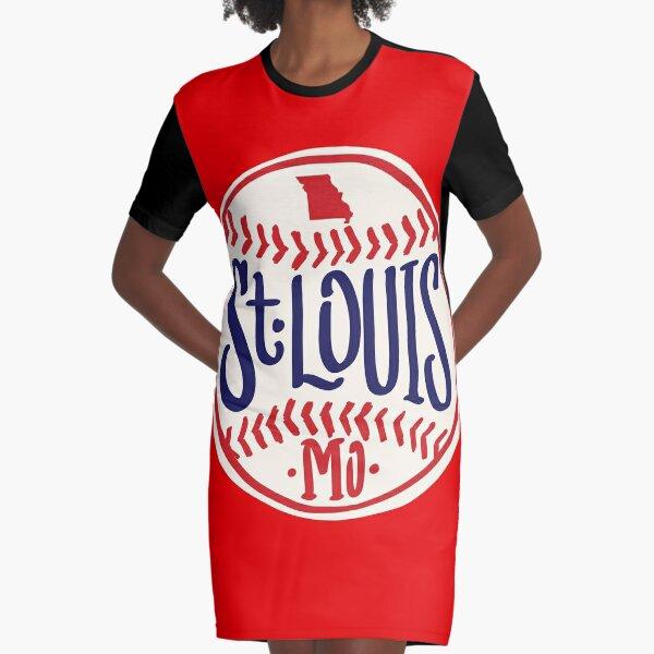 St. Louis Missouri Hand Drawn Script baseball Design Graphic T-Shirt Dress
