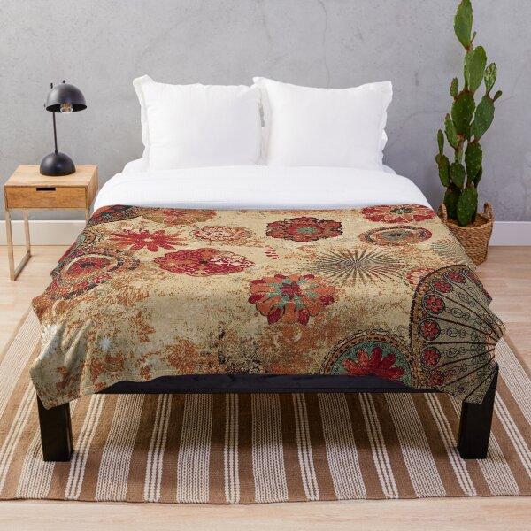 Bohemian Farmhouse Style Traditional Moroccan Design Throw Blanket