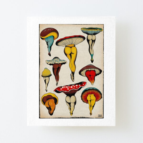 Sexy mushrooms tattoo flash Canvas Mounted Print