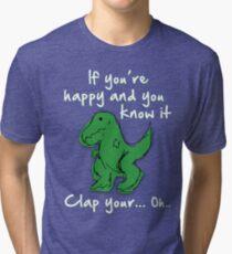 A Happy Dinosaur? White Text Tri-blend T-Shirt