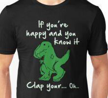 A Happy Dinosaur? White Text Unisex T-Shirt